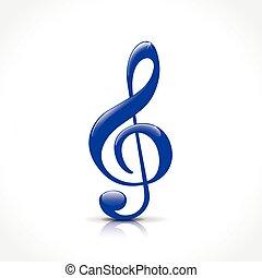blue treble clef - Illustration of blue treble clef on white...