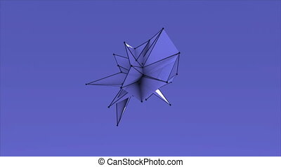 Abstract colorful Fractal Geometric, Polygonal or Lowpoly Style Black Sphere made From a Triangular 3D rendering