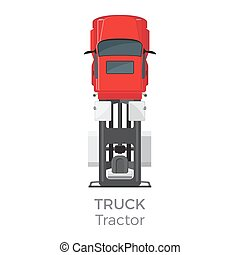 Truck Tractor on Red Car service Transport Item - Truck...