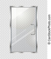Transparent Door on Grey Checkered Background - Transparent...