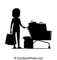 Female Silhouette with Packages near Shopping Cart
