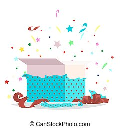 Open Blue Gift Box Illustration Holiday Collection - Open...