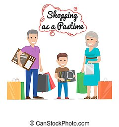 Shopping as Pastime for Your Family. Cartoon Family