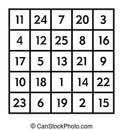 5x5 magic square with sum 65 of planet Mars - 5x5 magic...
