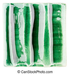 Handmade glazed ceramic tile - Green lined handmade glazed...
