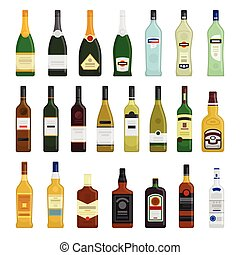 Big set of different bottles