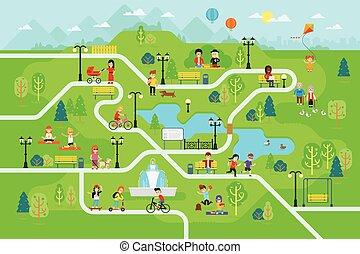 Rest in the park map infographic elements in flat vector design.