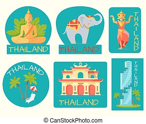 Thailand Poster of Cards with Symbolic Signs. - Thailand...