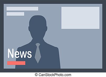 News with Man Silhouette on Dark Grey Background