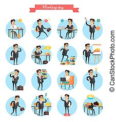 Working Day Busy Template Collection on White - Working day...