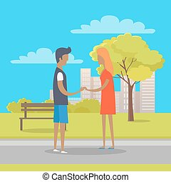 Young Boy and Girl in Love Stand on Park Path