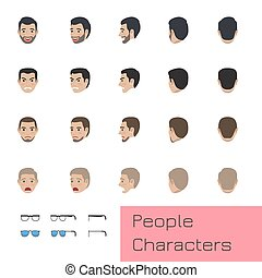 People Characters Set with Emotions and Poses