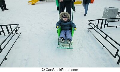 Little boy driven sledge winter.
