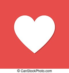 Heart icon with shadow in a flat design on a red background