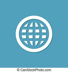 Globe icon with shadow in a flat design on a blue background