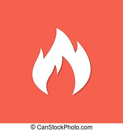 Fire icon with shadow in a flat design on a red background