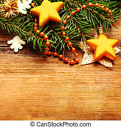 Christmas retro background with decoration and Xmas tree branch