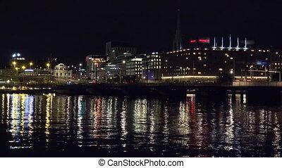 Central Station in Stockholm. Sweden. Night, lights -...