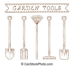 garden tools - collection of sketch hand drawn garden tools