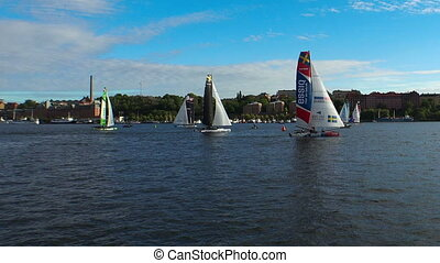Contest yachts and sailboats in Stockholm. Sweden. - Contest...