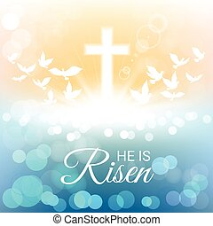 Shining and birds with He is risen text for Easter day