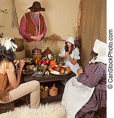 Thanksgiving table - Reenactment scene of the first...