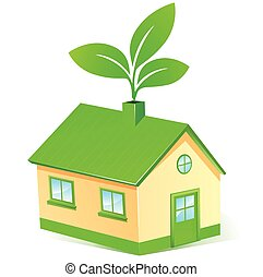 eco house concept - Illustration of eco house concept