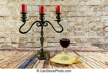 wine and matzoh jewish passover candles jewish bread...