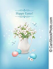 Happy Easter Card. Vector spring flowers in ceramic jug and...
