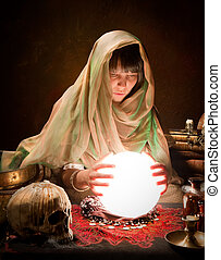 Astrology gypsy with crystal ball - Young fortune-teller...