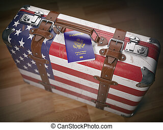 USA passport and suitcase with flag of USA.