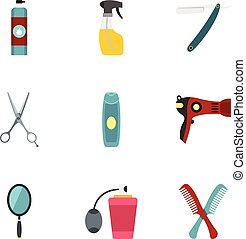 Barber tools icons set, flat style