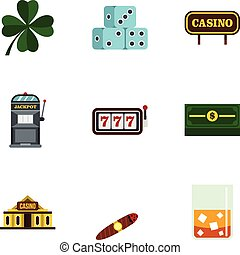 Gambling icons set, flat style - Gambling icons set. Flat...