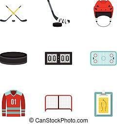 Ice hockey sport icons set, flat style