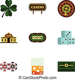 Fortune gambling icons set, flat style - Fortune gambling...