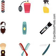 Shaving tools icons set, flat style