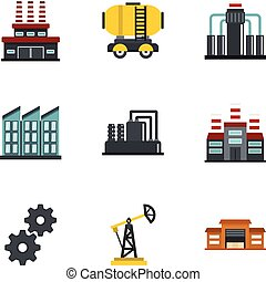 Oil extraction transportation icons set flat style