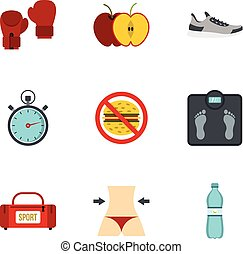Fitness and diet icons set, flat style