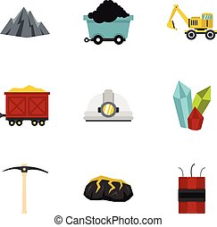 Mining coal industry icons set, flat style