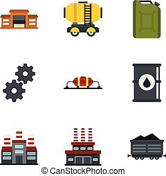 Oil and petrol icons set, flat style