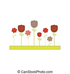 color figures flowers plants icon, vector illustraction...