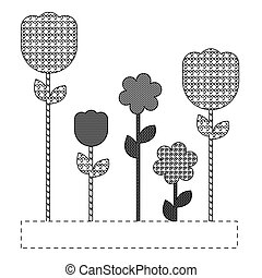 grayscale figures flowers plants icon, vector illustraction...