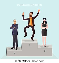 business winner concept - pedestal with business people...