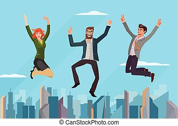 business people jumping - group of business people jumping...