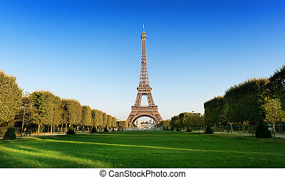 Champ de Mars with the view on Eiffel Tower in Paris, France
