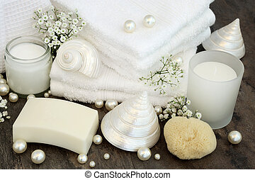 Body Care Cleansing Products - White body care and bathroom...