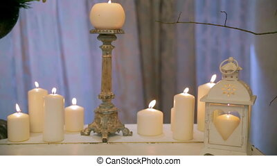 Beautiful decoration of the hall with candles.