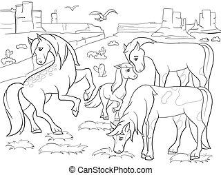 Children coloring cartoon horses grazing on meadow vector...