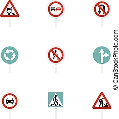 Various road signs icons set, flat style - Various road...
