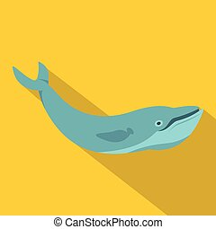 Blue whale icon, flat style - Blue whale icon. Flat...